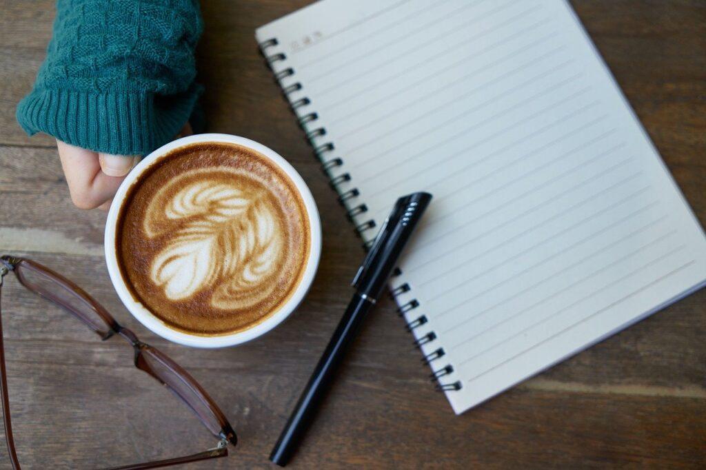 coffee, caffeine, notebook